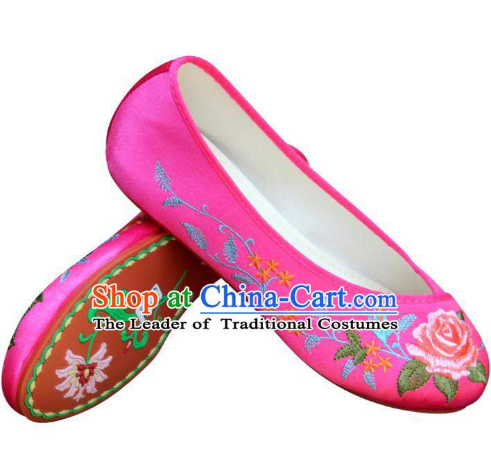Traditional Chinese National Bride Peach Pink Embroidered Shoes, China Handmade Embroidery Peony Flowers Hanfu Cloth Shoes for Women