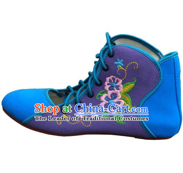 Traditional Chinese National Bride Embroidered Canvas Shoes, China Handmade Embroidery Flowers Plimsolls for Women
