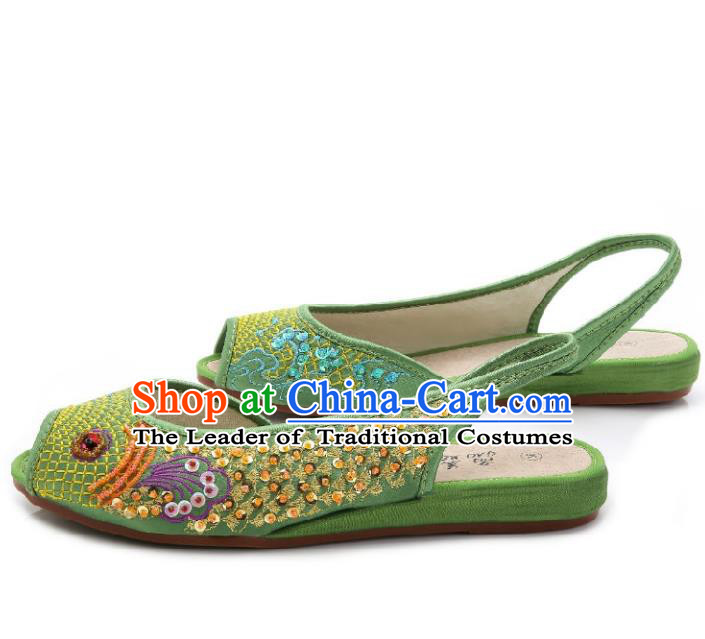 Traditional Chinese National Bride Green Paillette Embroidered Sandal, China Handmade Embroidery Flowers Peep-toe Shoes for Women
