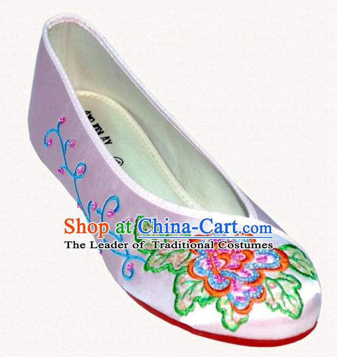 Traditional Chinese National Bride Lilac Embroidered Shoes, China Handmade Embroidery Flowers Hanfu Shoes for Women