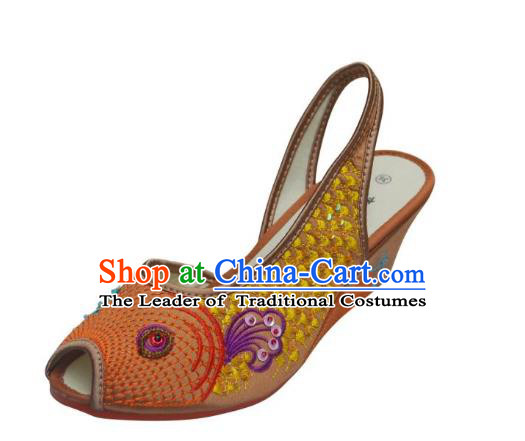 Traditional Chinese National Bride Yellow Paillette Embroidered Sandal, China Handmade Embroidery Flowers Peep-toe Shoes for Women