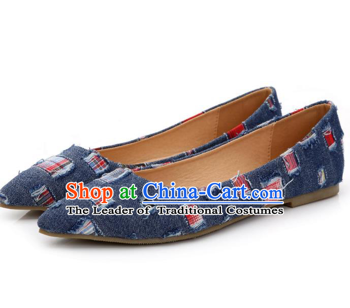 Traditional Chinese National Bride Blue Canvas Shoes, China Handmade Embroidery Hanfu Shoes for Women
