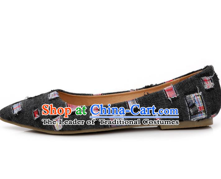 Traditional Chinese National Bride Black Canvas Shoes, China Handmade Embroidery Hanfu Shoes for Women