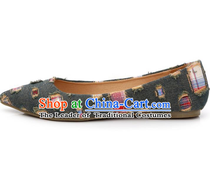 Traditional Chinese National Bride Army Green Canvas Shoes, China Handmade Embroidery Hanfu Shoes for Women