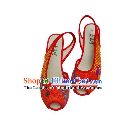 Traditional Chinese National Bride Dark Red Paillette Embroidered Sandal, China Handmade Embroidery Flowers Peep-toe Shoes for Women