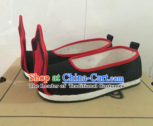 Traditional Handmade Chinese Han Dynasty Minister Shoes Hanfu Embroidery Black Wedding Shoes for Men