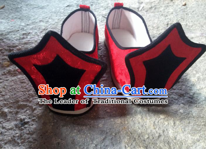 Traditional Handmade Chinese Han Dynasty Minister Shoes Hanfu Embroidery Red Wedding Shoes for Men