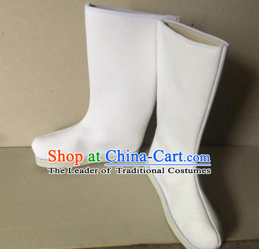 Traditional Handmade Chinese Peking Opera Takefu White Cloth Boots Hanfu Shoes for Men