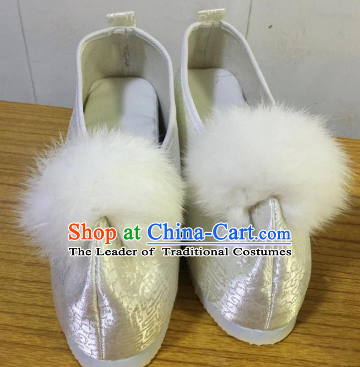 Traditional Chinese Ancient Princess Embroidered White Blood Stained Shoes, China Handmade Hanfu Embroidery Shoes for Women