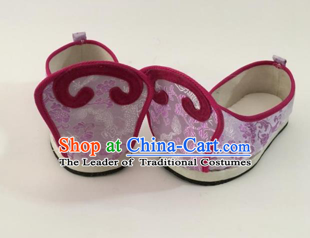 Traditional Chinese Ancient Han Dynasty Princess Embroidered Purple Blood Stained Shoes, China Handmade Hanfu Embroidery Shoes for Women