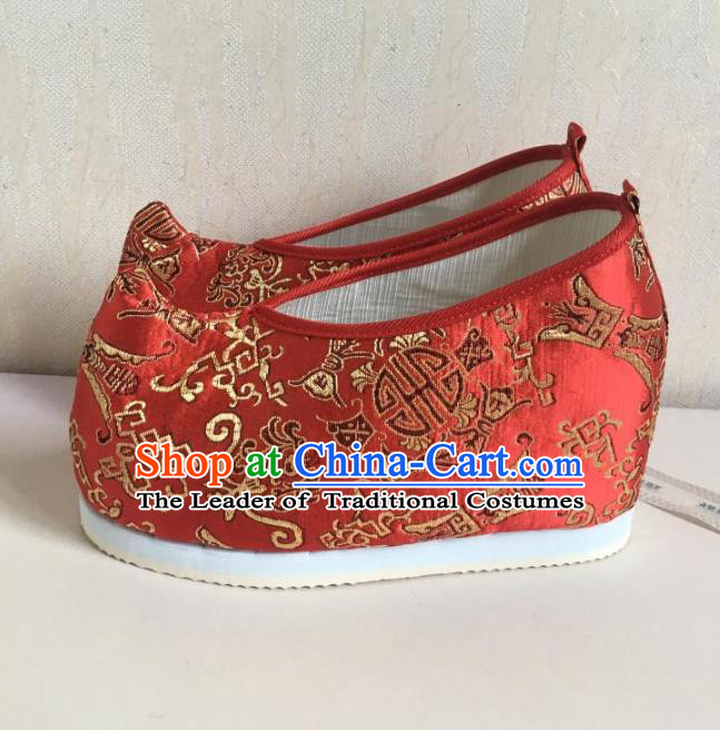 Traditional Chinese Ancient Han Dynasty Princess Embroidered Red Blood Stained Shoes, China Handmade Hanfu Embroidery Wedding Shoes for Women