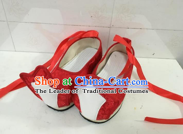 Traditional Chinese Ancient Han Dynasty Princess Embroidered Red Shoes, China Handmade Hanfu Embroidery Wedding Shoes for Women