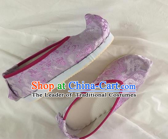 Traditional Chinese Ancient Princess Purple Satin Embroidered Shoes, China Handmade Hanfu Embroidery Shoes for Women