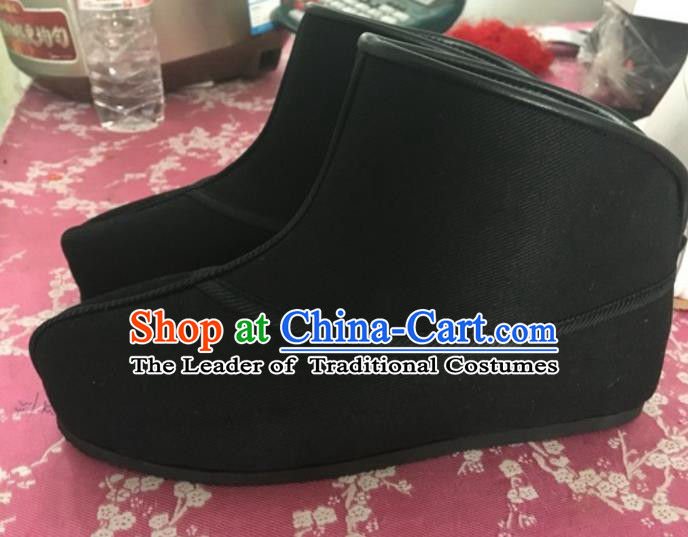 Traditional Chinese Ancient Peking Opera Takefu Shoes, China Handmade Hanfu Black Quick Shoes for Men