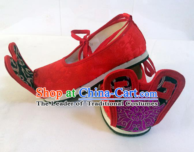 Traditional Chinese Ancient Han Dynasty Bridegroom Red Embroidered Shoes, China Handmade Hanfu Wedding Embroidery Shoes for Men