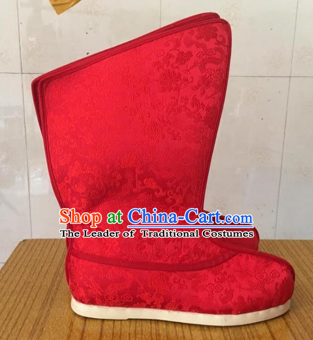 Traditional Chinese Han Dynasty Red Embroidered Boots, China Handmade Ancient Swordsman Hanfu Shoes for Men