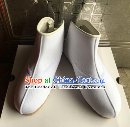 Traditional Chinese Ancient Peking Opera Takefu Shoes, China Handmade Hanfu White Quick Shoes for Men