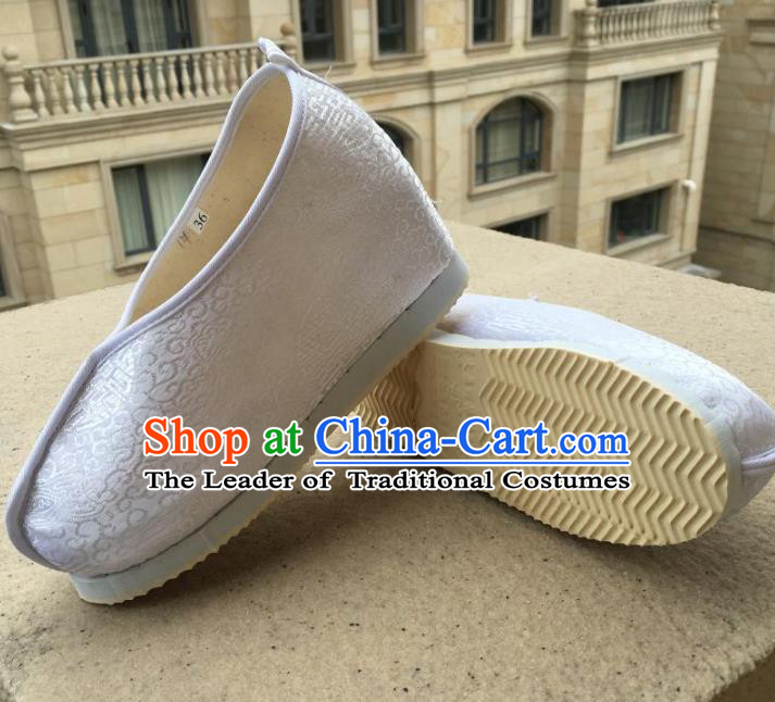 Traditional Chinese Ancient Princess White Satin Shoes, China Handmade Hanfu Shoes for Women