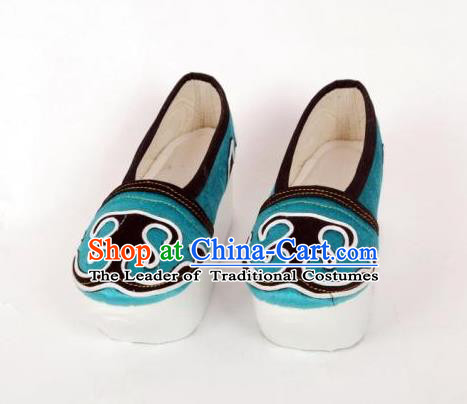 Traditional Chinese Ancient Niche Blue Shoes, China Peking Opera Handmade Hanfu Shoes for Men