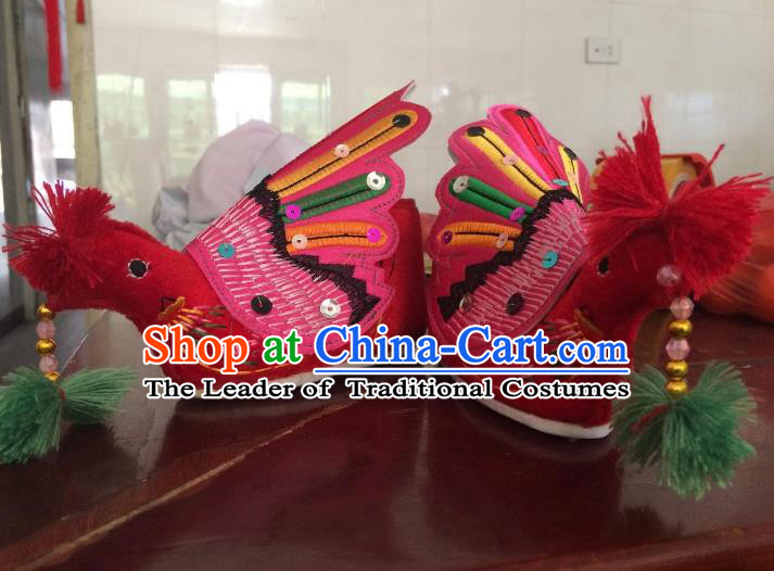 Traditional Chinese Ancient Phoenix Shoes, China Handmade Hanfu Embroidery Shoes for Women