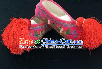 Traditional Chinese Ancient Rosy Blood Stained Shoes, China Handmade Peking Opera Diva Hanfu Embroidery Shoes for Women