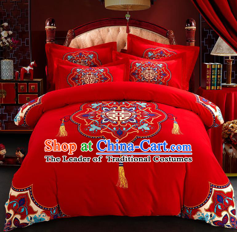 Traditional Chinese Style Wedding Bedding Set, China National Printing Character Xi Red Textile Bedding Sheet Quilt Cover Complete Set