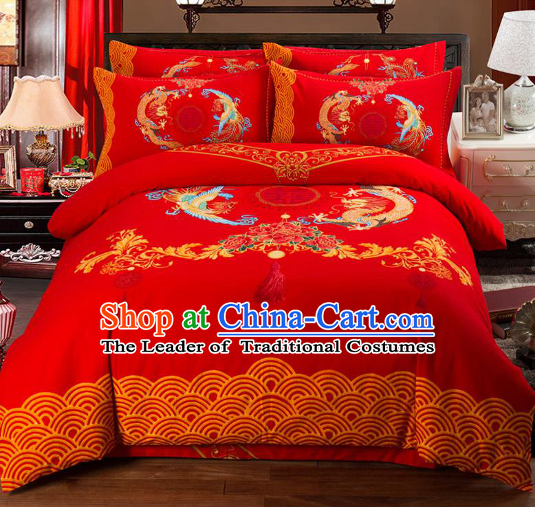 Traditional Chinese Style Wedding Bedding Set, China National Printing Dragon and Phoenix Red Textile Bedding Sheet Quilt Cover Complete Set