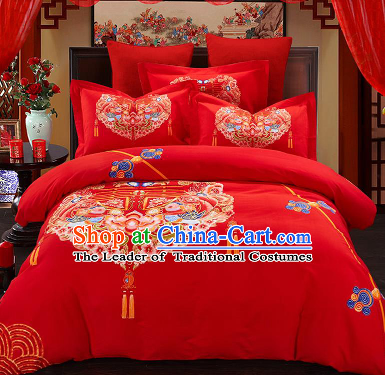 Traditional Chinese Style Wedding Bedding Set, China National Printing Peony Red Textile Bedding Sheet Quilt Cover Complete Set