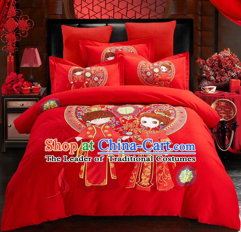 Traditional Chinese Style Wedding Bedding Set, China National Marriage Printing Red Textile Bedding Sheet Quilt Cover Complete Set