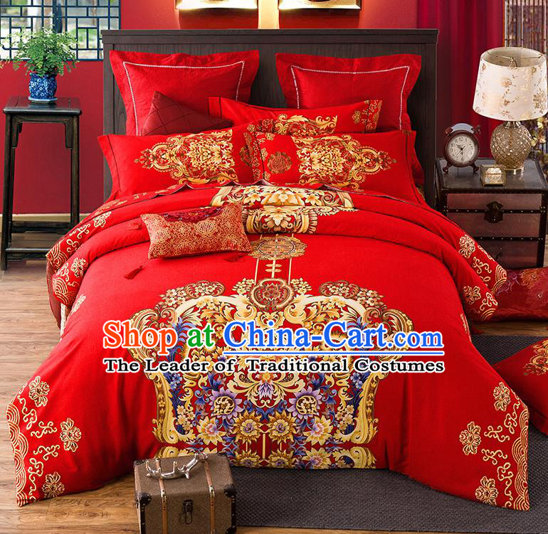 Traditional Chinese Style Wedding Bedding Set, China National Marriage Printing Flowers Red Textile Bedding Sheet Quilt Cover Complete Set