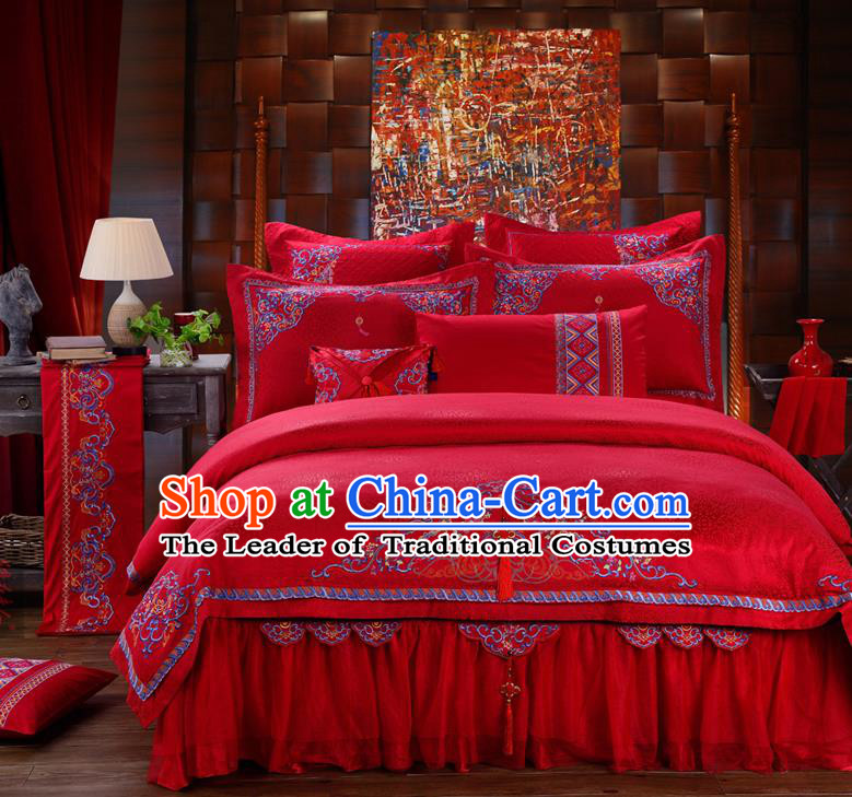 Traditional Chinese Style Wedding Bedding Set, China National Marriage Embroidery Red Textile Bedding Sheet Quilt Cover Ten-piece suit