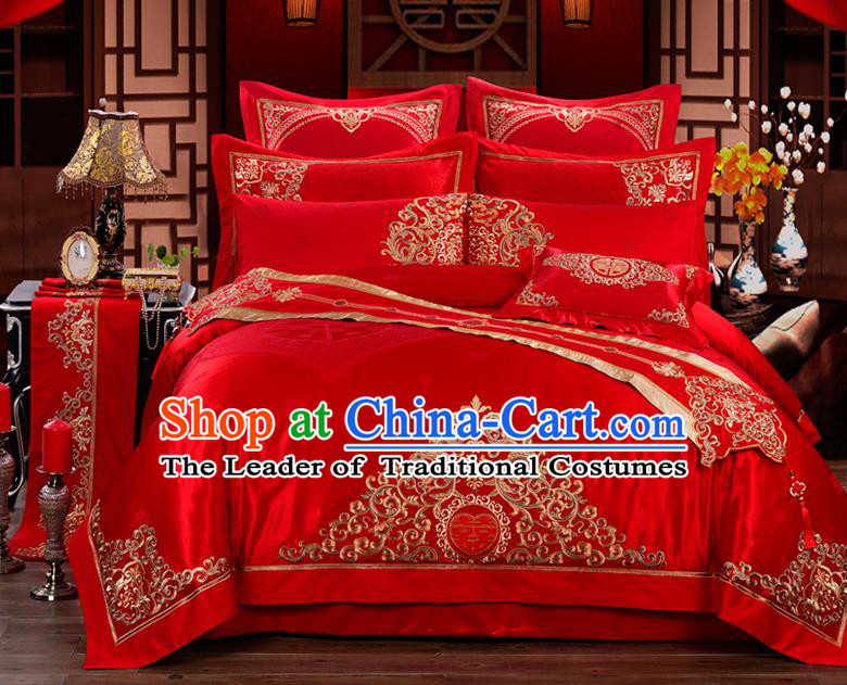 Traditional Chinese Style Wedding Bedding Set, China National Marriage Embroidery Red Textile Bedding Sheet Quilt Cover 11-piece suit