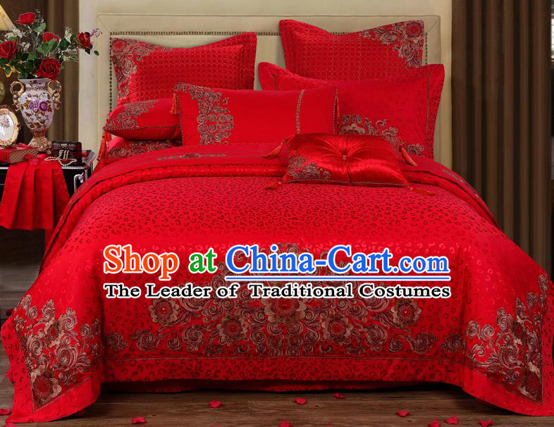 Traditional Chinese Style Wedding Bedding Set, China National Marriage Embroidery Red Satin Textile Bedding Sheet Quilt Cover 10-piece suit