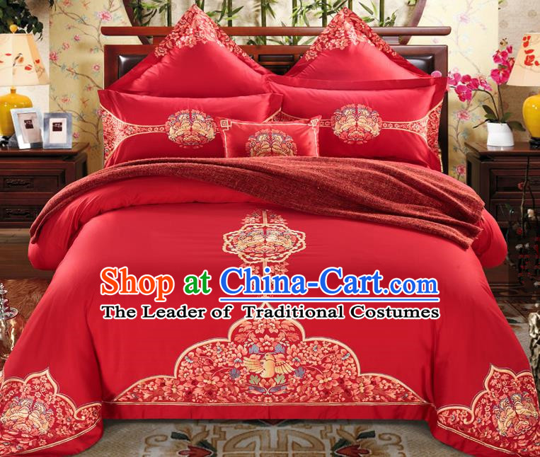 Traditional Chinese Style Wedding Bedding Set, China National Marriage Embroidery Red Textile Bedding Sheet Quilt Cover Seven-piece suit