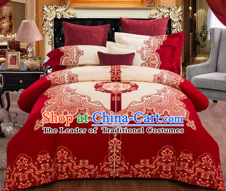 Traditional Chinese Style Wedding Bedding Set, China National Marriage Embroidery Wine Red Textile Bedding Sheet Quilt Cover Seven-piece suit