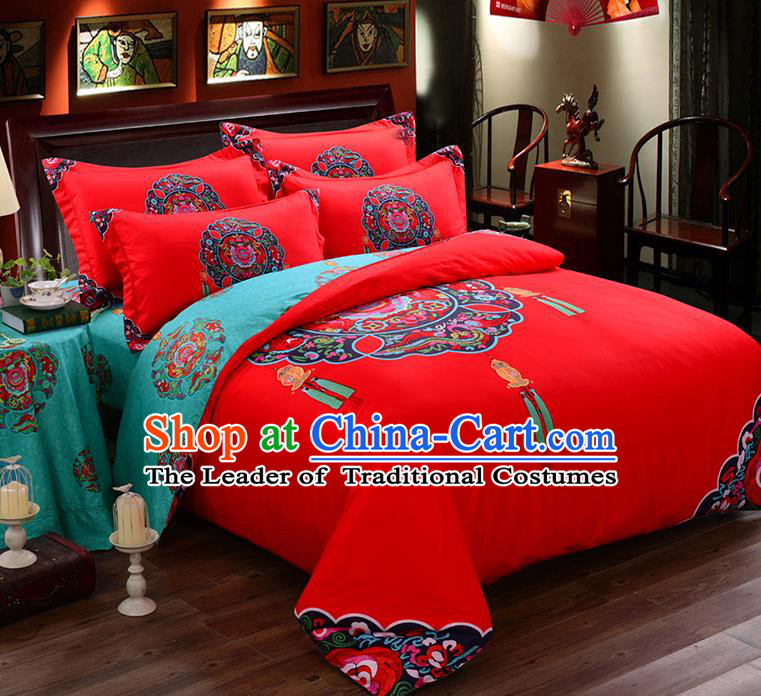 Traditional Chinese Style Wedding Bedding Set, China National Marriage Printing Red Textile Bedding Sheet Quilt Cover Seven-piece suit