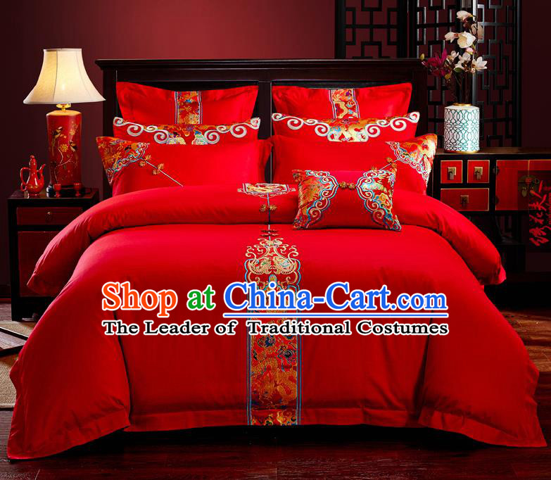Traditional Chinese Style Wedding Bedding Set, China National Marriage Embroidery Red Textile Bedding Sheet Quilt Cover Six-piece suit