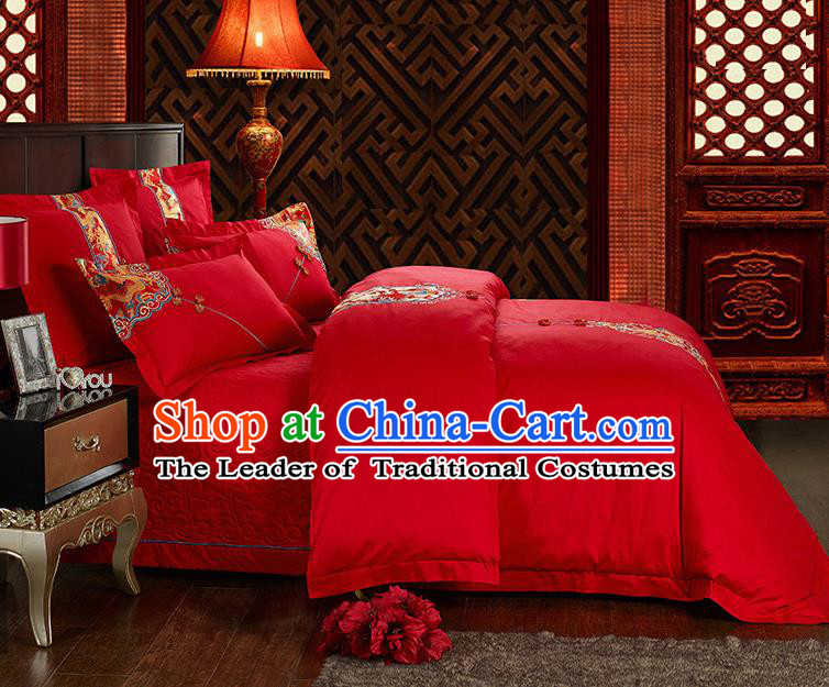 Traditional Chinese Style Wedding Bedding Set, China National Marriage Embroidery Dragon Red Textile Bedding Sheet Quilt Cover Six-piece suit