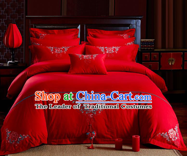 Traditional Chinese Style Wedding Bedding Set, China National Marriage Embroidery Peony Red Textile Bedding Sheet Quilt Cover Six-piece suit