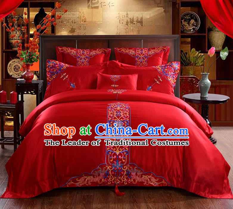 Traditional Chinese Style Wedding Bedding Set, China National Marriage Embroidery Flowers Red Textile Bedding Sheet Quilt Cover Six-piece suit