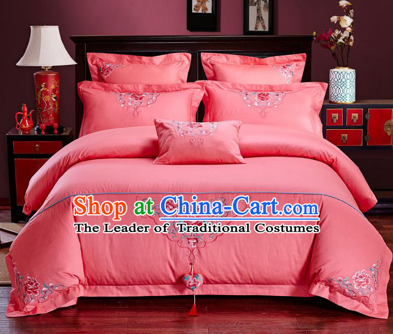 Traditional Chinese Style Wedding Bedding Set, China National Marriage Embroidery Peony Pink Textile Bedding Sheet Quilt Cover Six-piece suit