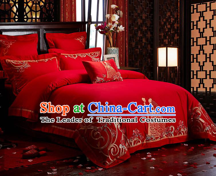 Traditional Chinese Style Wedding Bedding Set, China National Marriage Embroidery Bride Red Textile Bedding Sheet Quilt Cover Seven-piece suit