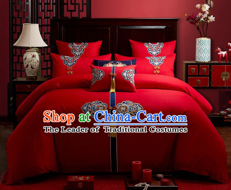 Traditional Chinese Style Wedding Bedding Set, China National Marriage Embroidery Tassel Red Textile Bedding Sheet Quilt Cover Seven-piece suit