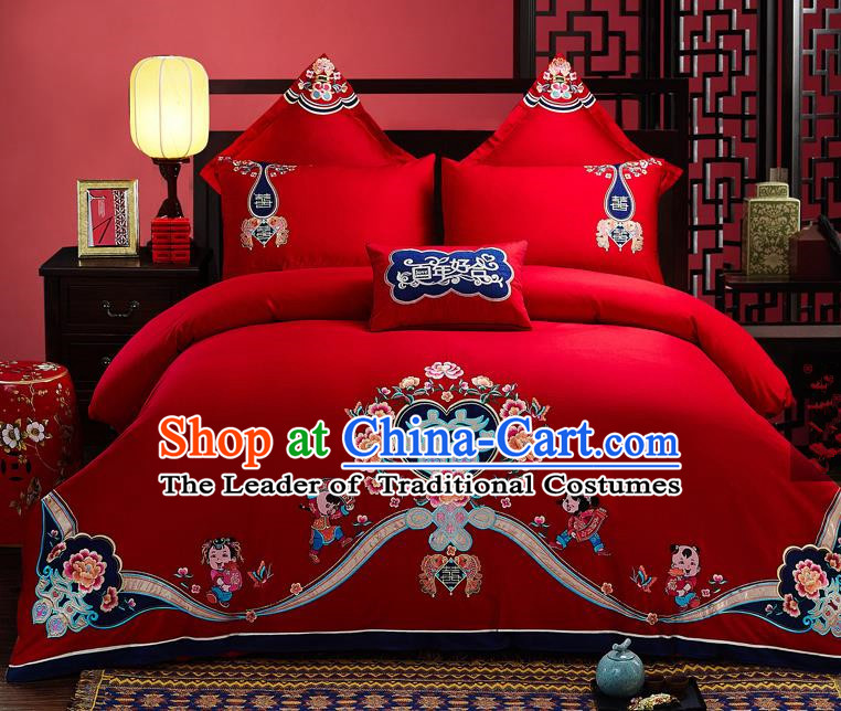 Traditional Chinese Style Wedding Bedding Set, China National Marriage Embroidery Love for All Seasons Red Textile Bedding Sheet Quilt Cover Seven-piece suit