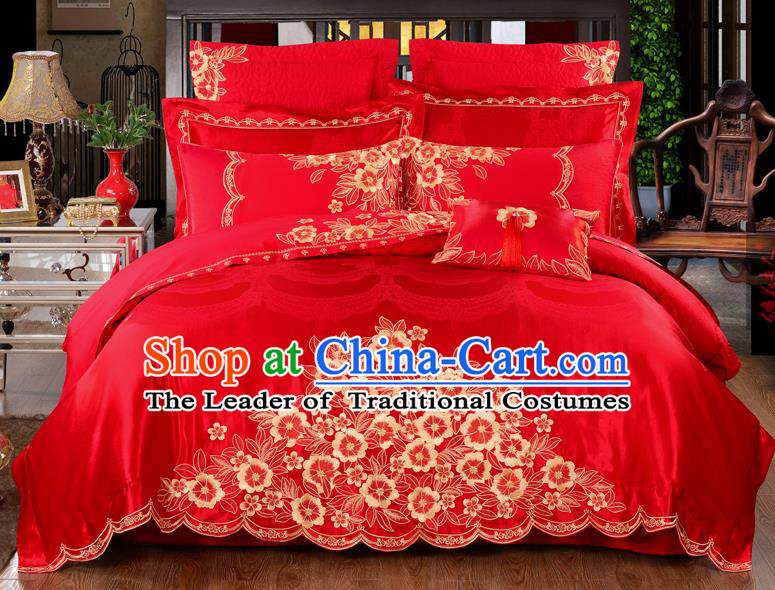 Traditional Chinese Style Marriage Bedding Set Embroidered Flowers Wedding Celebration Red Satin Drill Textile Bedding Sheet Quilt Cover Ten-piece Suit