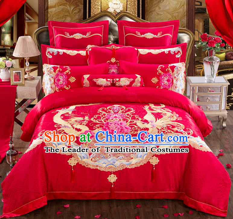 Traditional Chinese Style Marriage Bedding Set Embroidered Dragon Phoenix Peony Wedding Celebration Red Satin Drill Textile Bedding Sheet Quilt Cover Eleven-piece Suit