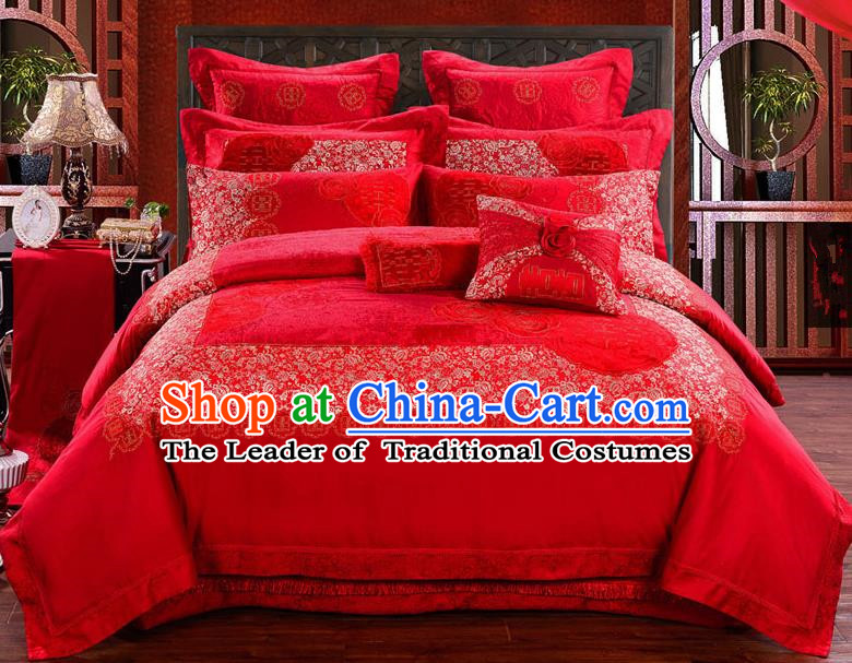 Traditional Chinese Style Marriage Bedding Set Embroidered Rose Wedding Celebration Red Satin Drill Textile Bedding Sheet Quilt Cover Eleven-piece Suit