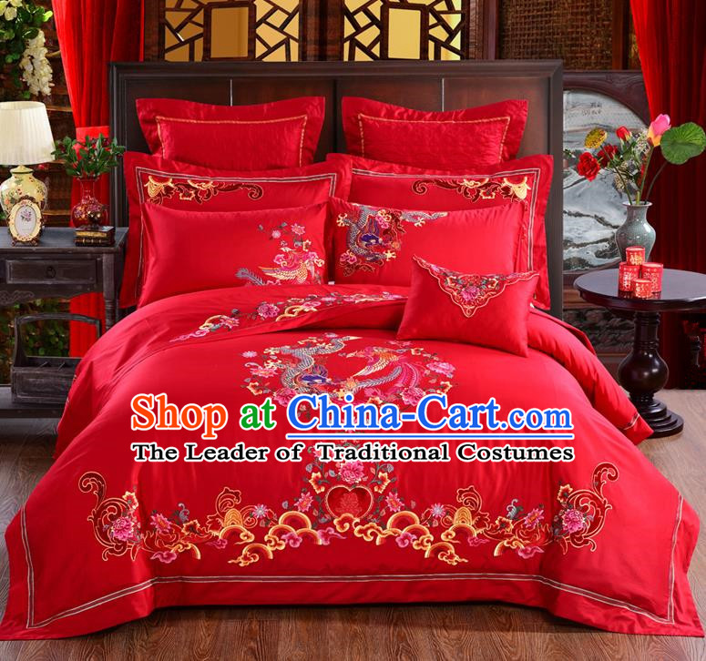 Traditional Chinese Style Marriage Bedding Set Embroidered Phoenix Peony Wedding Celebration Red Satin Drill Textile Bedding Sheet Quilt Cover Ten-piece Suit