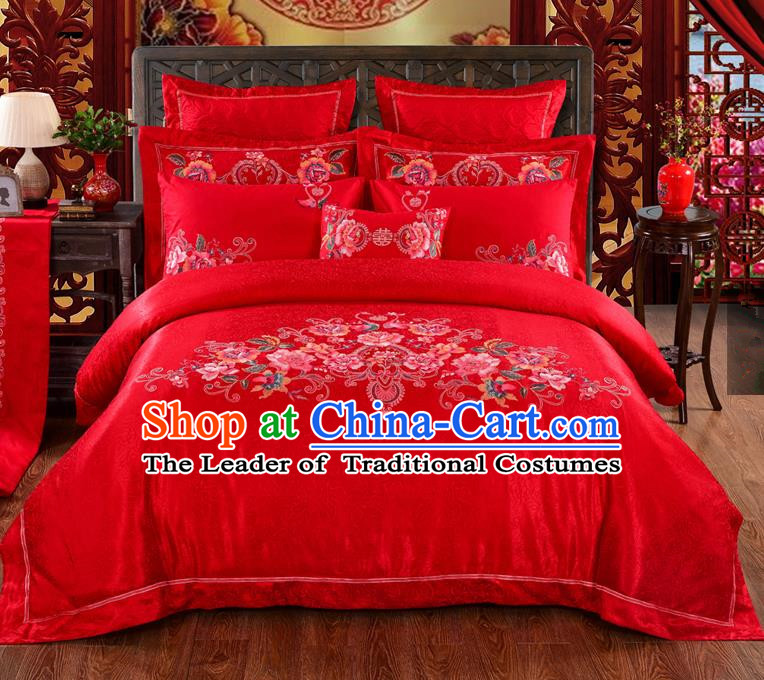 Traditional Chinese Style Marriage Bedding Set Embroidered Peony Wedding Celebration Red Satin Drill Textile Bedding Sheet Quilt Cover Ten-piece Suit