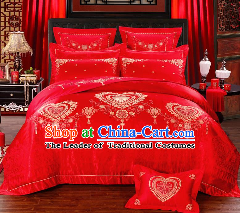 Traditional Chinese Style Marriage Printing Bedding Set Wedding Celebration Red Satin Drill Textile Bedding Sheet Quilt Cover Ten-piece Suit